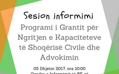 Sesion informimi – Programi i Grantit për Ngritjen e Kapaciteteve të Shoqërisë Civile dhe Advokimin