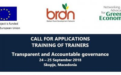 "Call for Applicantions ""Training of Trainers – Transparent and Accountable governance"""