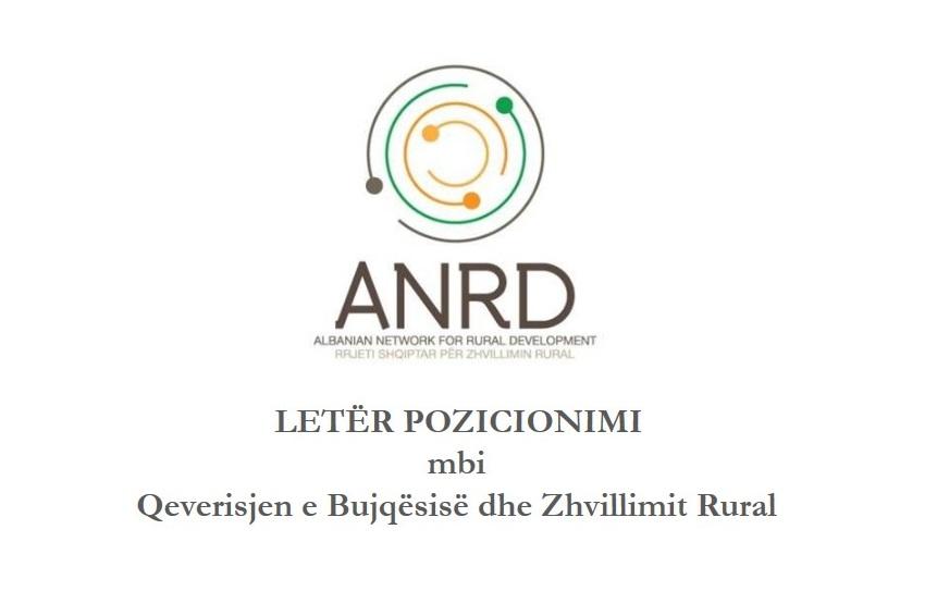 LETËR POZICIONIMI mbi Qeverisjen e Bujqësisë dhe Zhvillimit Rural