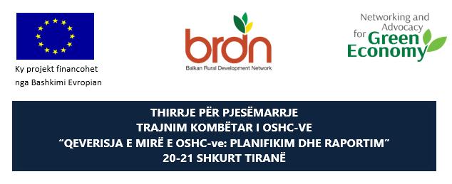 """Thirrje për pjesëmarrje – Trajnim kombëtar i OSHC-ve """"Qeverisja e mirë e OSHC-ve: PLANIFIKIM DHE RAPORTIM"""""""