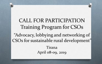"CALL for participation: Training Program for CSOs ""Advocacy, lobbying and networking of CSOs for sustainable rural development"""