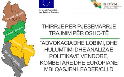 THIRRJE PËR PJESËMARRJE: Trajnim për OSHC-të – Forumi rajonal i Drinit, Arbërit, Egnatias dhe Vjosës
