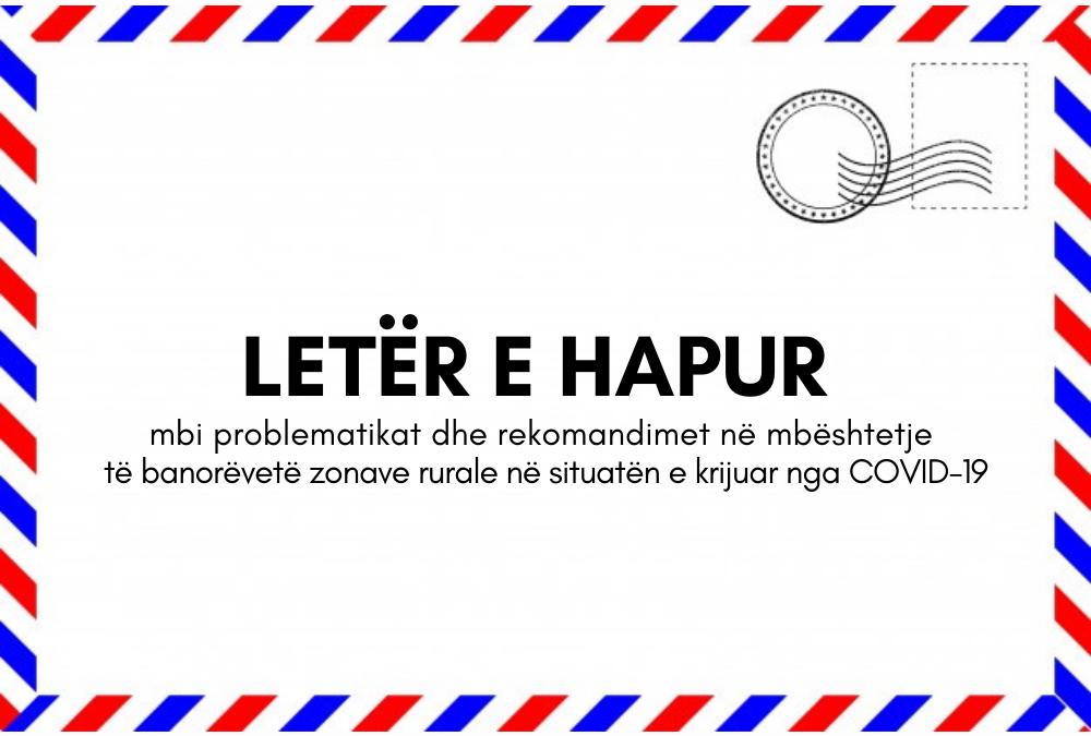 LETËR E HAPUR mbi problematikat dhe rekomandimet në mbështetje të banorëve të zonave rurale në situatën e krijuar nga COVID-19