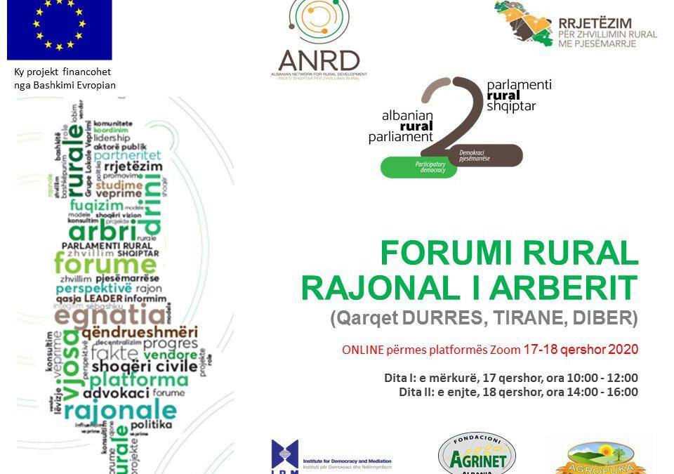 Mblidhen online Forumi rural rajonal i Arbërit dhe Forumi rural rajonal i Vjosës